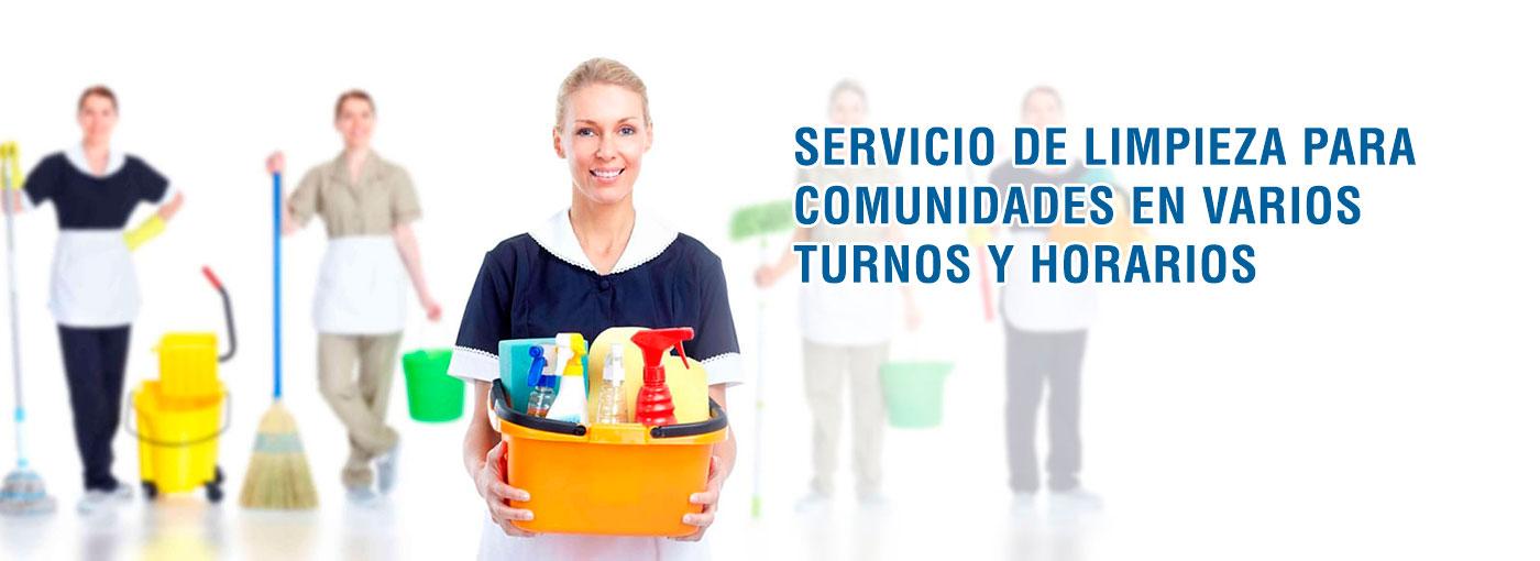 Servicios de limpieza para comunidades en varios turnos y horarios